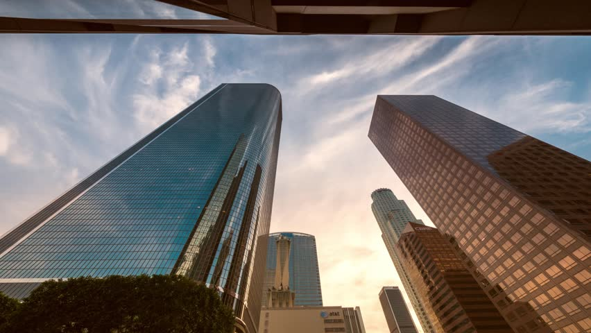Downtown Los Angeles city buildings skyline at sunset. 4K timelapse.
