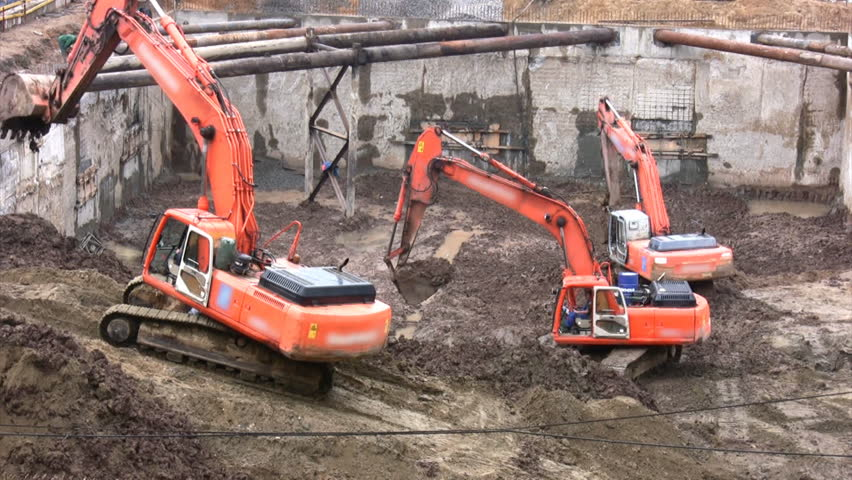 three excavators, no logos  - HD stock video clip