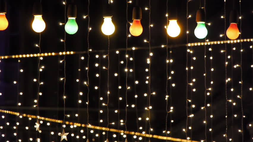 String Of Blue Lights Song : Night Club Decorated With Lights And Adornments For Christmas 4 Stock Footage Video 568597 ...