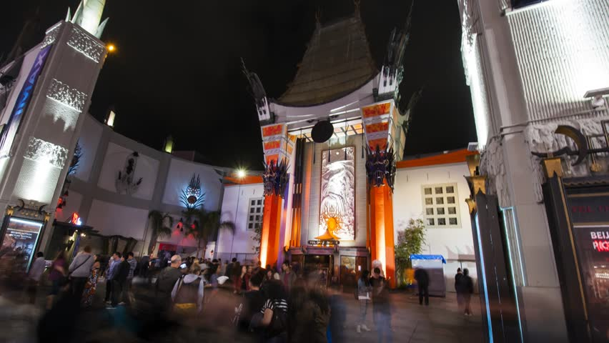 4K. LOS ANGELES - CIRCA 2013: Famous Hollywood Boulevard at night. Hyperlase. HD timelapse in motion of Grauman's Chinese Theatre. California.