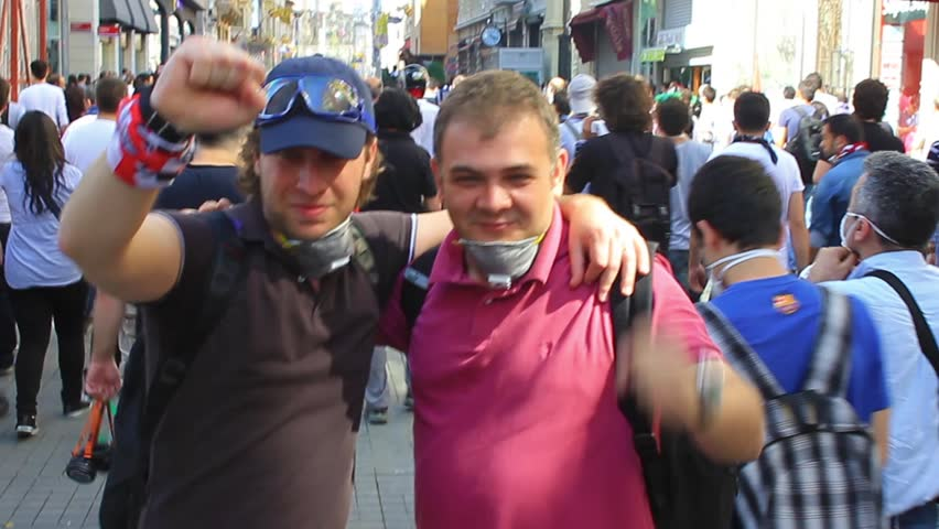 ISTANBUL, TURKEY - JUNE 1, 2013: This is what happened on one of the craziest days yet at occupy Gezi Park. A young group of people with a vision of better way of life at the rally on Istiklal Street