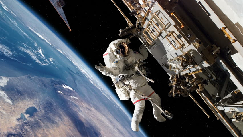 Astronaut Spacewalk Working on International Space Station