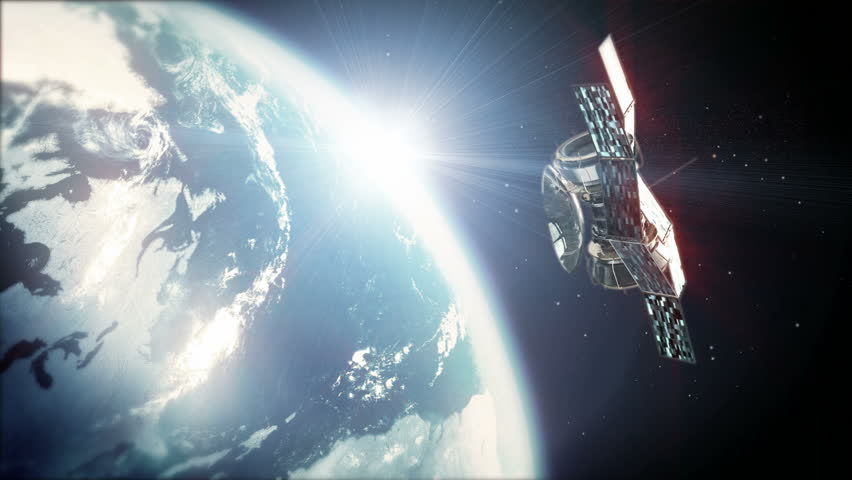Zoom out from earth to orbit. Flying around the satellite | Shutterstock HD Video #575638