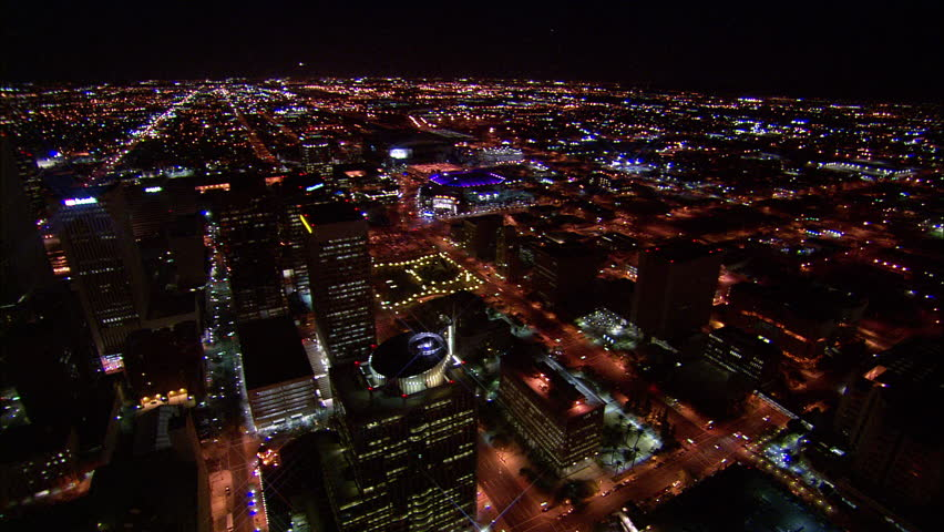 Skyline Phoenix Arizona. Great view of the Phoenix, Arizona skyline with the US Airways Center and its purple lights.