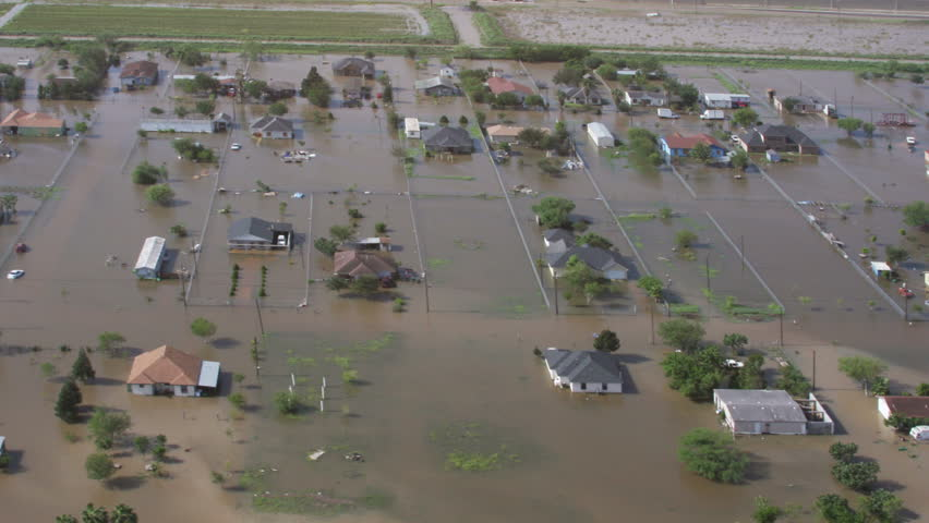Aerial view of massive flooding after storm.