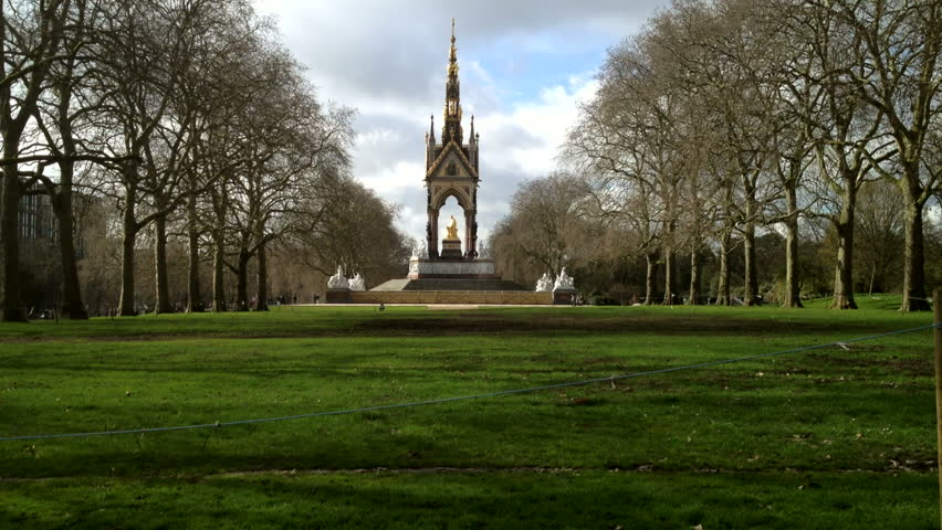 The Albert Memorial in Kensington Gardens, London, England, directly north of the Royal Albert Hall. It was commissioned by Queen Victoria in memory of her beloved husband, Prince Albert.