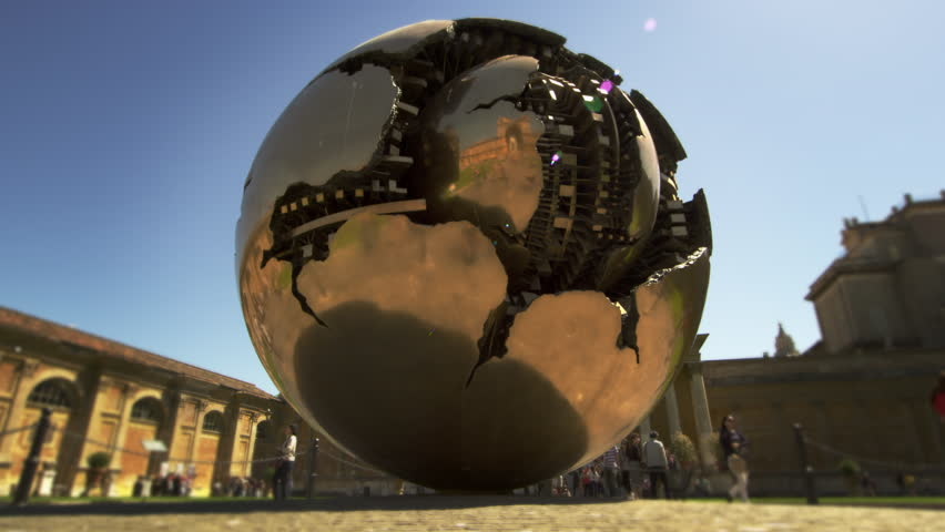 """ROME, ITALY - MAY 5, 2012: Slow motion shot of the rotating """"Sphere within Sphere"""""""