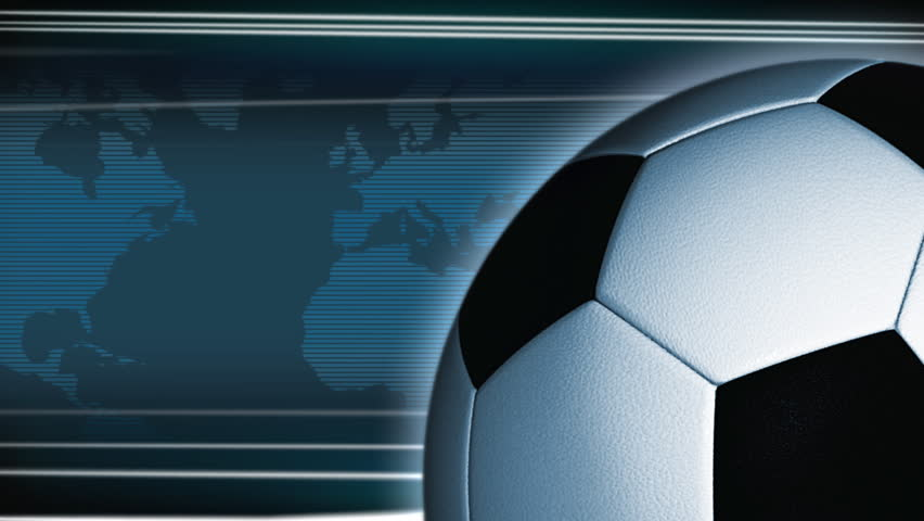 Rotating football, world map on the background. For soccer event. Loop. - HD stock footage clip