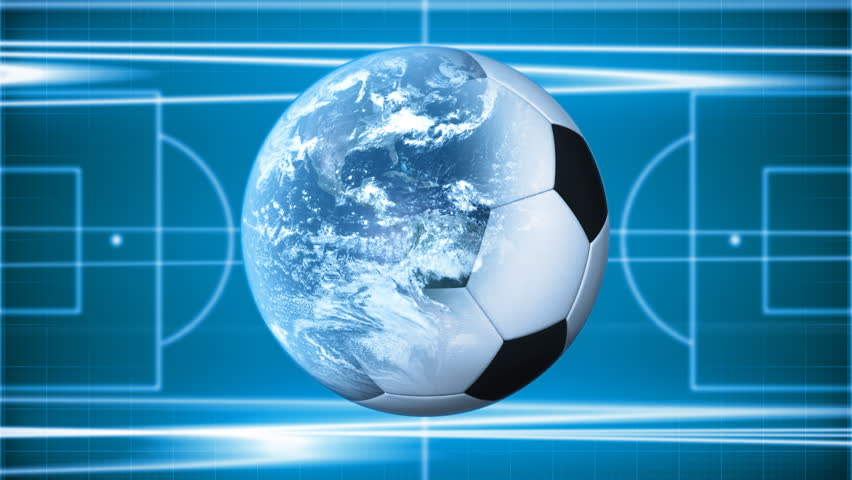 Soccer background. Soccer Field and football-Earth - HD stock video clip