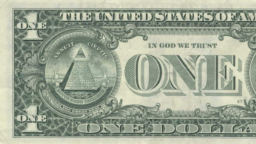 The All Seeing Eye on the back of the US Dollar Bill. Inside the oval is  made into 3D space for a better looking perspective/parallax. Annuit Coeptus and Novus Ordo Seclorum are also visible. - HD stock footage clip