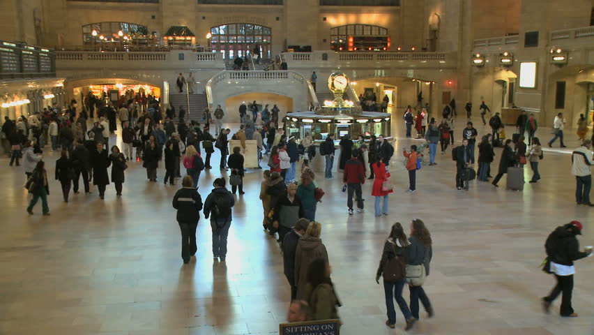 NEW YORK CITY - NOVEMBER 7: Grand Central Station is a hub of activity as seen in this time lapse (with motion blur) on November 7, 2009 in New York City. - HD stock video clip
