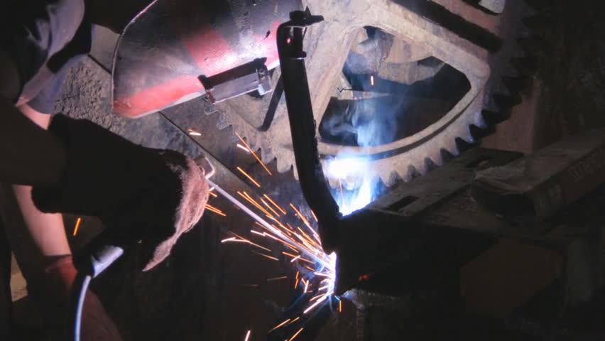 factory worker welding - HD stock video clip
