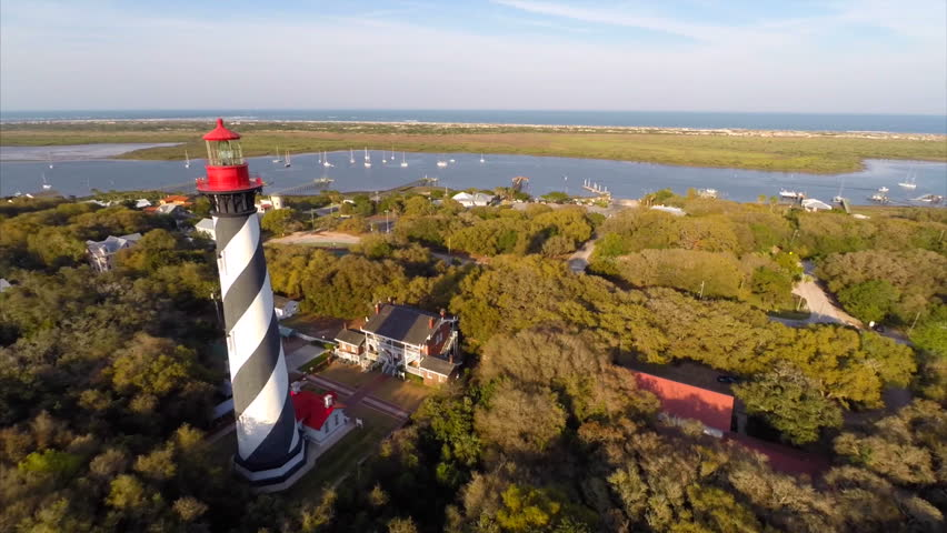 Florida light house at St augustine aerial video - HD stock video clip