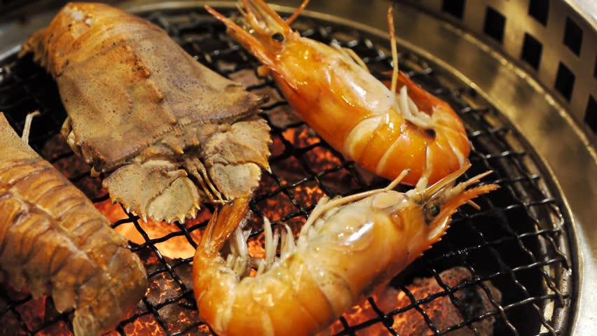 Oriental flathead lobster and river prawn grilled hd for White river fish market menu