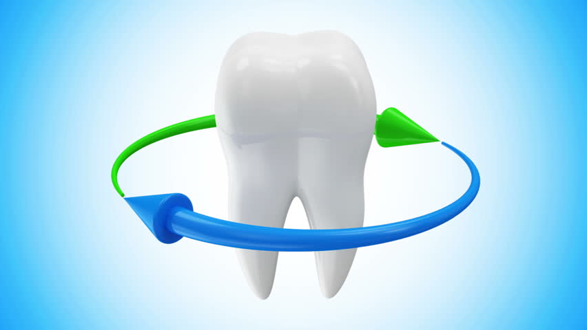 Animation of Tooth Rotation with Arrows on different backgrounds. Seamless Looping HQ Video Clip with Alpha Channel