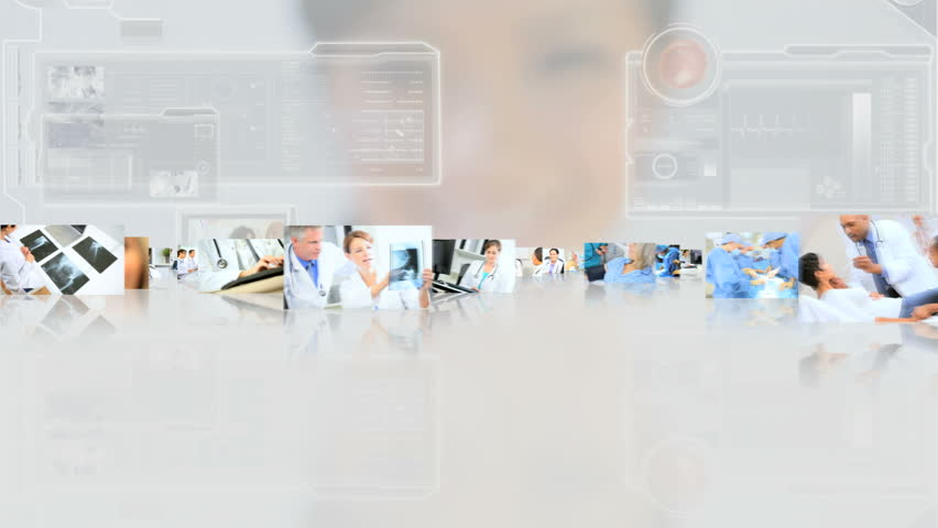 3D montage fly through male and female Multi ethnic doctors surgeons and patient care in hospital touch screen background - 3D montage fly through Multi ethnic doctors patient care hospital