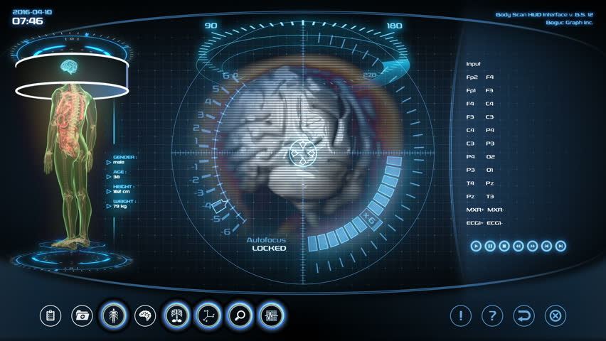 Futuristic brain scan. Holographic medical application interface.