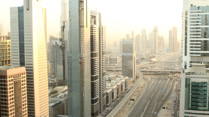 time lapse of dubai city from sunset to night
