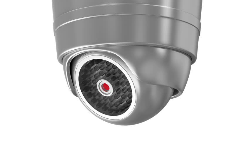 Seamless Looping Animation of Modern Security Camera Rotation. HQ Video Clip with Alpha Channel
