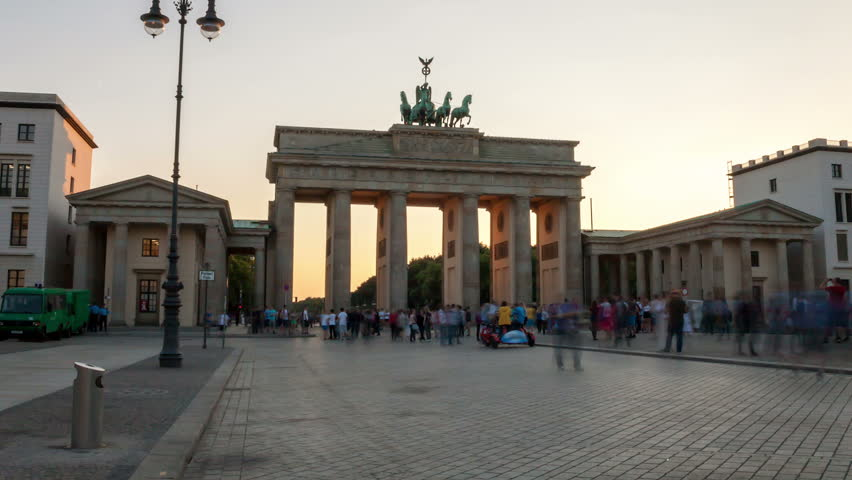 Brandenburg Gate from day to night, time lapse in motion. View from Pariser Platz in Berlin