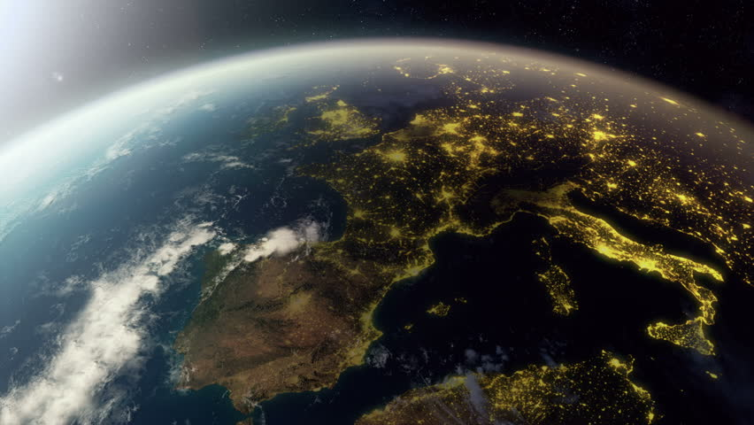 3D animation showing europe from space. As it gets dark you see cities light up. Check out a 4k still here: http://www.lucidpixel.nl/img/Stills/EuropeFromSpace_4K.jpg