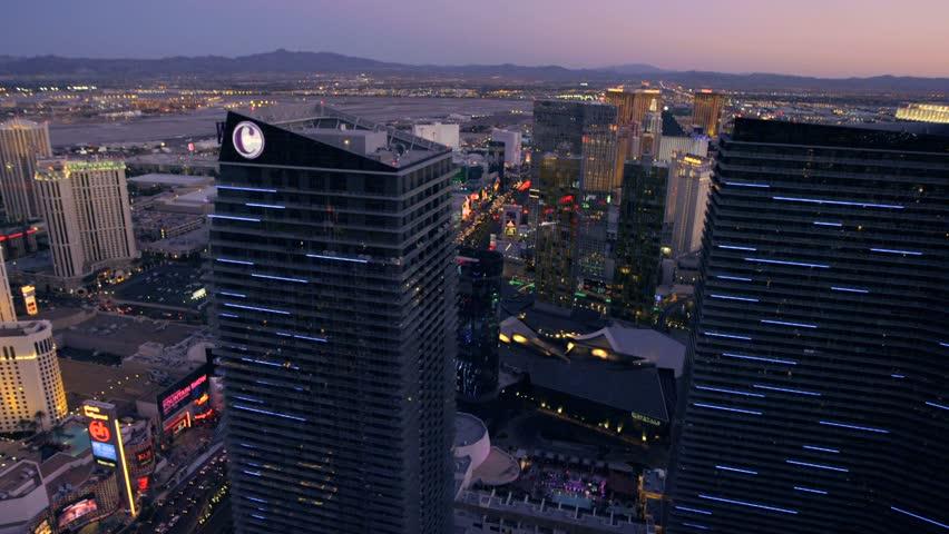 LAS VEGAS, NEVADA, CIRCA 2013 - Aerial view of The Cosmopolitan in Las Vegas, Nevada. - HD stock footage clip