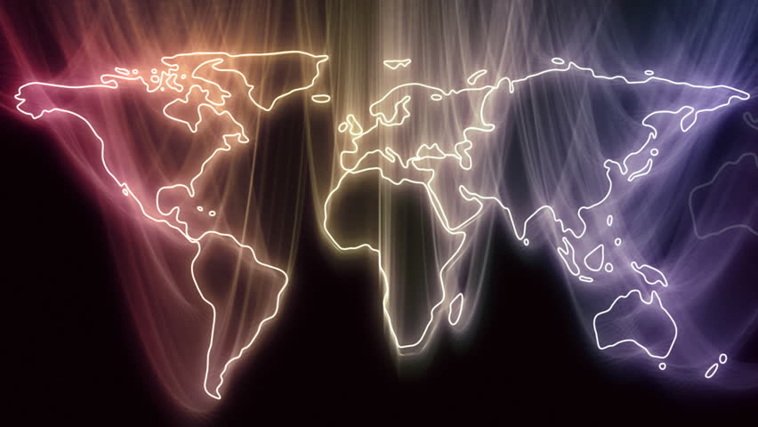 Gliding Continents Become Glowing World Map