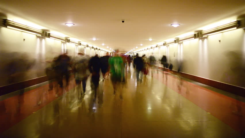 Time Lapse of Union Station Hallway with Commuters in Motion Blur -Tilt Up-