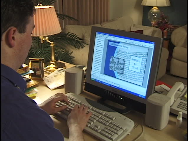 Businessman Types at Home Office - clip 5 of 6 - SD stock video clip