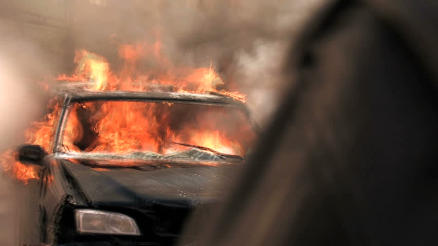 burning car. car on fire. car explosion. car crash accident. firefighter fireman. demolition demonstration sabotage terrorism