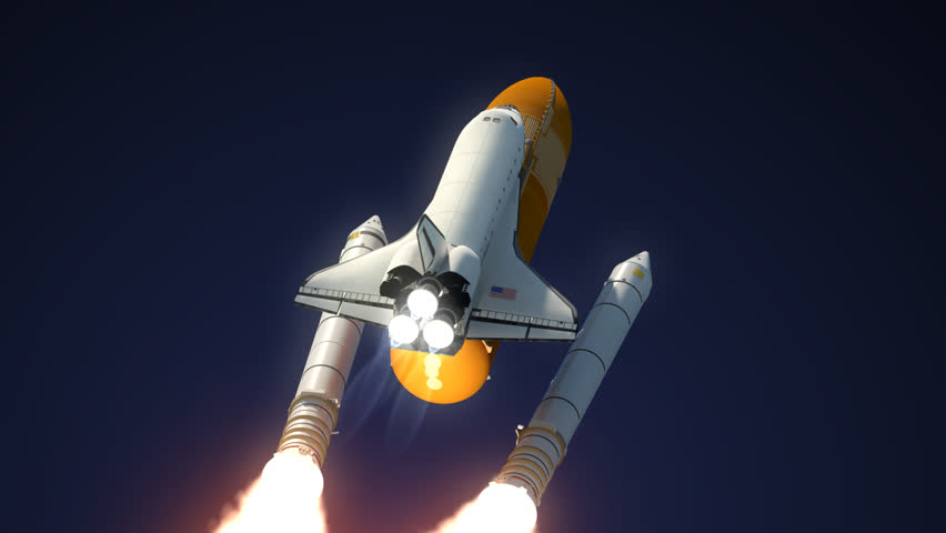 Space Shuttle Solid Rocket Boosters Separation. 3D Animation.