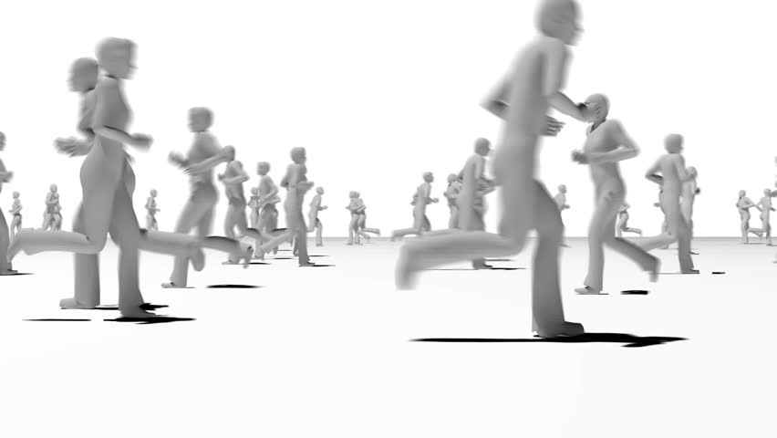 Anonymous crowd running jogging side view grey silhouettes.