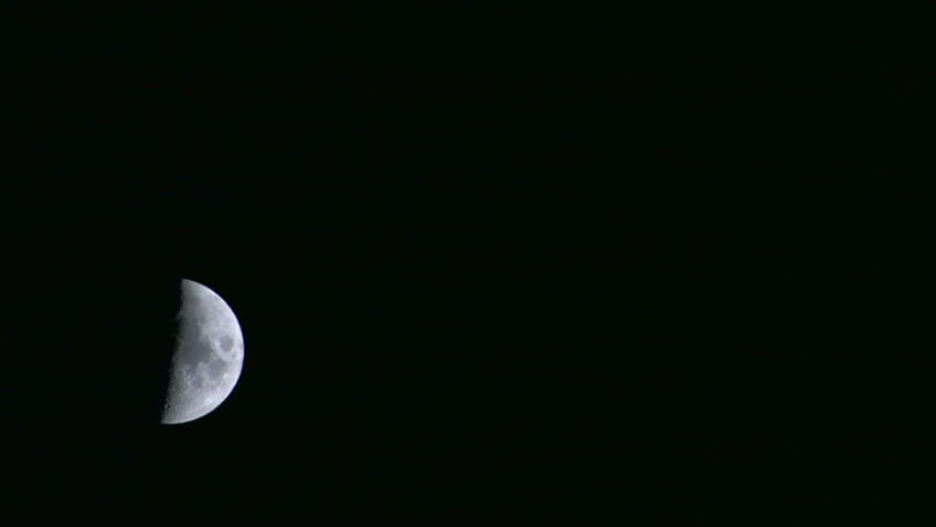 HD Half moon in the dark sky, timelapse, Canon XH A1, FullHD video, 1080p, 25fps, progressive scan  - HD stock footage clip