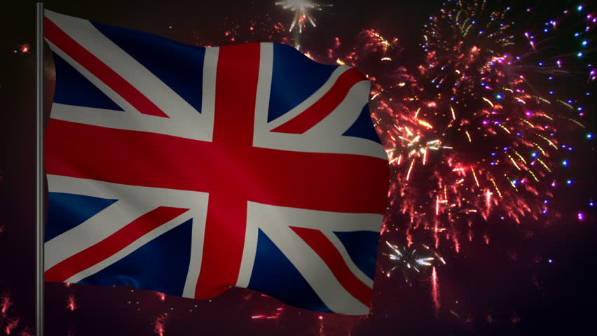 Flag of Great Britain with spectacular fireworks display in the background