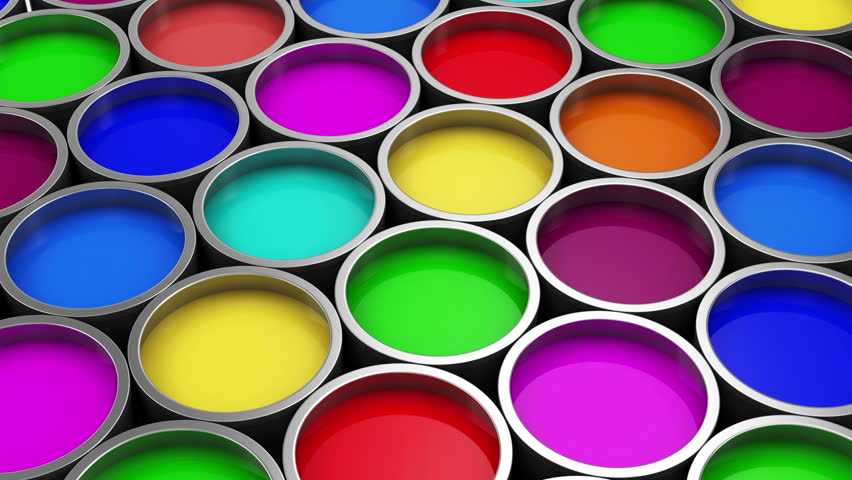 Stack of Colorful Paint Cans. HQ Seamless Looping Animation