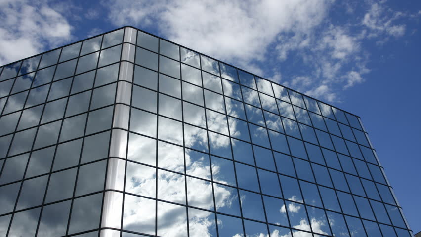 clouds reflected in office building windows hd 1080p hd stock video clip building an office