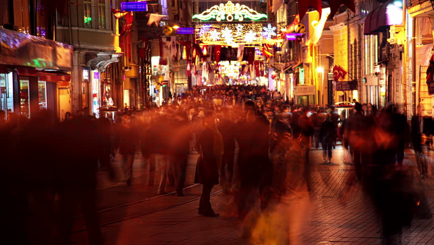 Istanbul. Evening. The pedestrian Istiklal Street. A lot of unrecognizable people. Timelapse. 4K