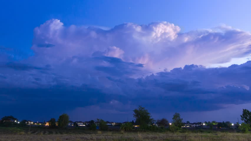 Time Lapse Thunderstorm And Lightning In Sky