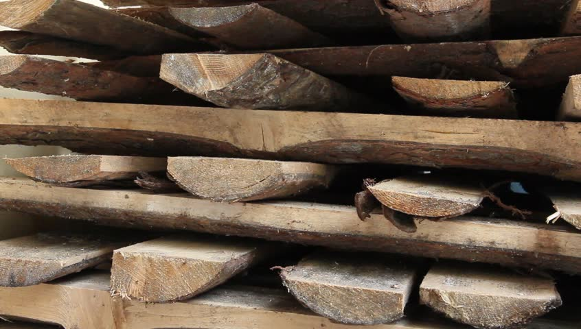 The detailed look at a stack of firewood