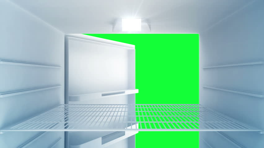 Animation of Inside view of an empty Modern Fridge with Blue Light. Green Screen and Alpha Matte is Included