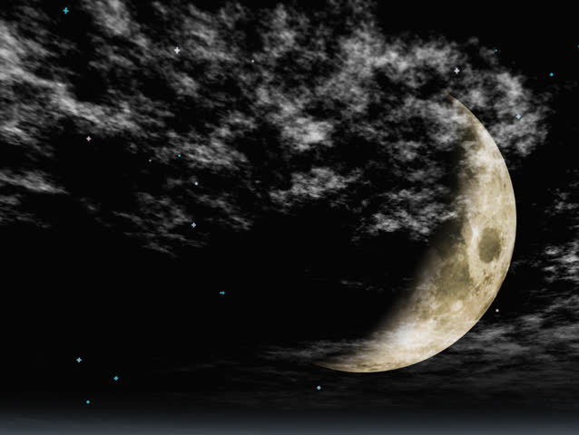 Night sky, clouds moving across a crescent moon and stars. with shooting star toward moon. Nighttime background. Original Animation
