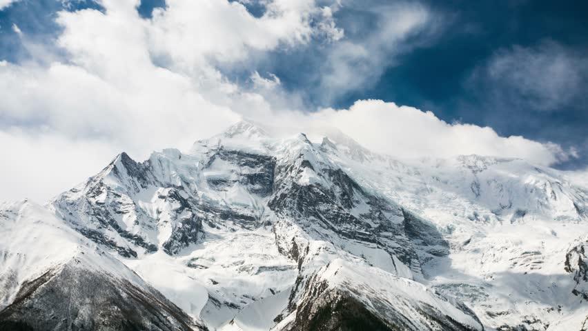 4k Timelapse of Annapurna II mountain, 7,937 m (26,040 ft). Nepal, Himalayas. Annapurna II is a part of Annapurna circuit trek, one of the most popular adventure circuit trek in the world.