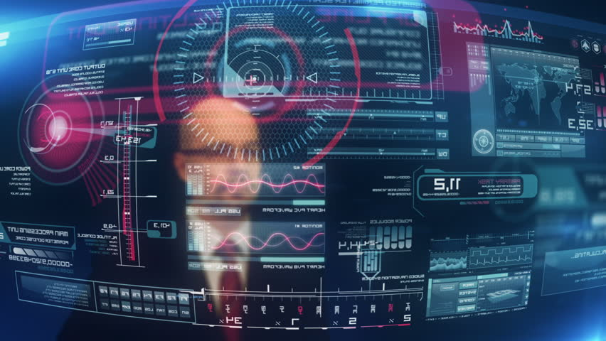 System start. Man in suit pressing screen with futuristic software interface.