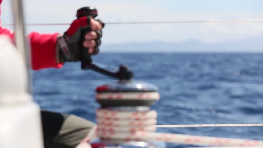 Sailing  man pulling r...