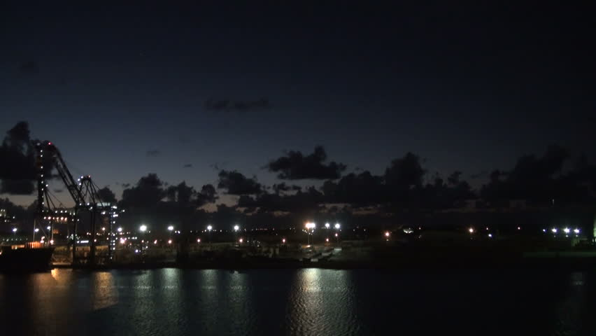 Bahamas - Freeport - Industrial Port In The Night - Container Terminal And Dry-dock For Cruise Ship Refurbishing - High Definition - Time Lapse / Bahamas - Freeport - Industrial Port In The Night