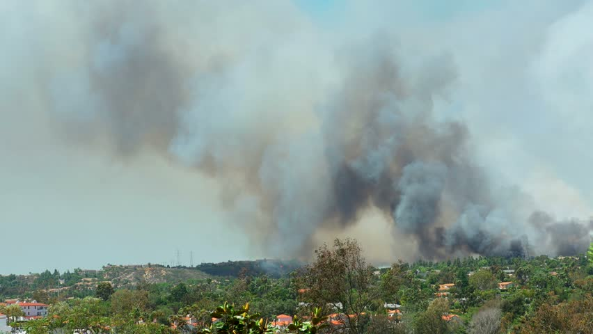 Smoke caused by Large Brush Fire Wide Shot. 4k Video - Poinsettia Fire - Carlsbad, CA May 14th 2014