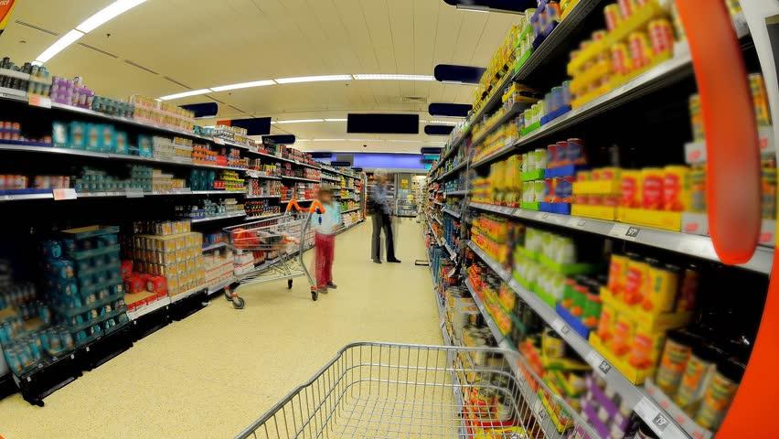 Supermarket Shopping Isle Time Lapse