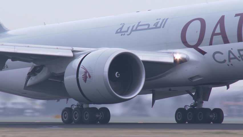 AMSTERDAM, THE NETHERLANDS - FEBRUARI 27, 2014: 4K Qatar Airways Cargo airplane landing