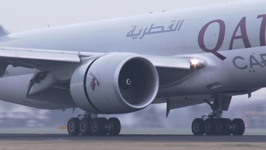 AMSTERDAM, THE NETHERLANDS - FEBRUARI 27, 2014: 4K Qatar Airways Cargo airplane landing