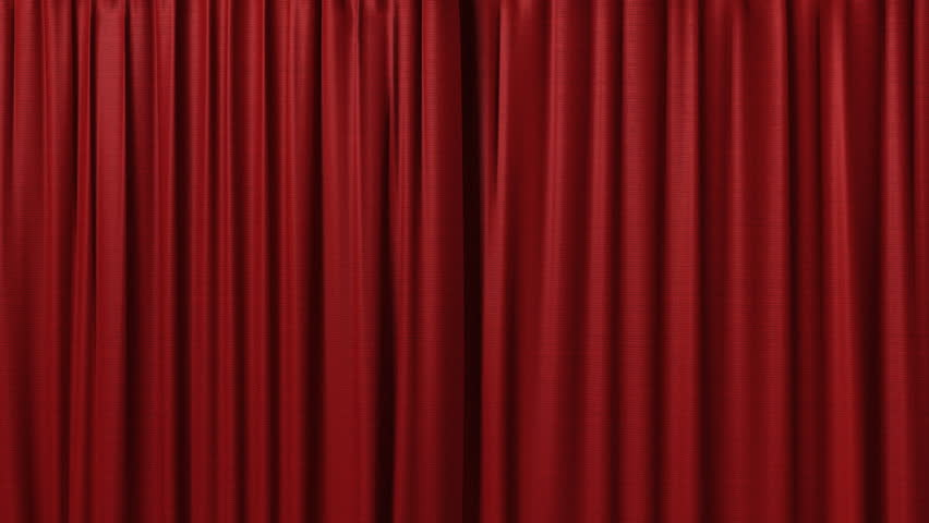 Beautiful Girl In Ethnic Dress Opens Red Curtains On Window Stock